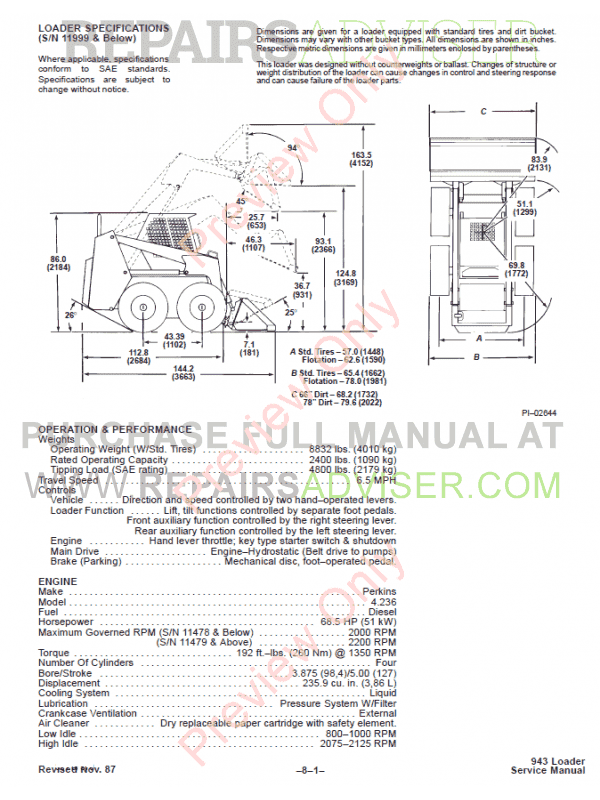 Bobcat 943 Loader Service Manual PDF, Bobcat Manuals by www.repairsadviser.com